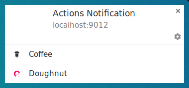 Notification with actions on Chrome on Linux.
