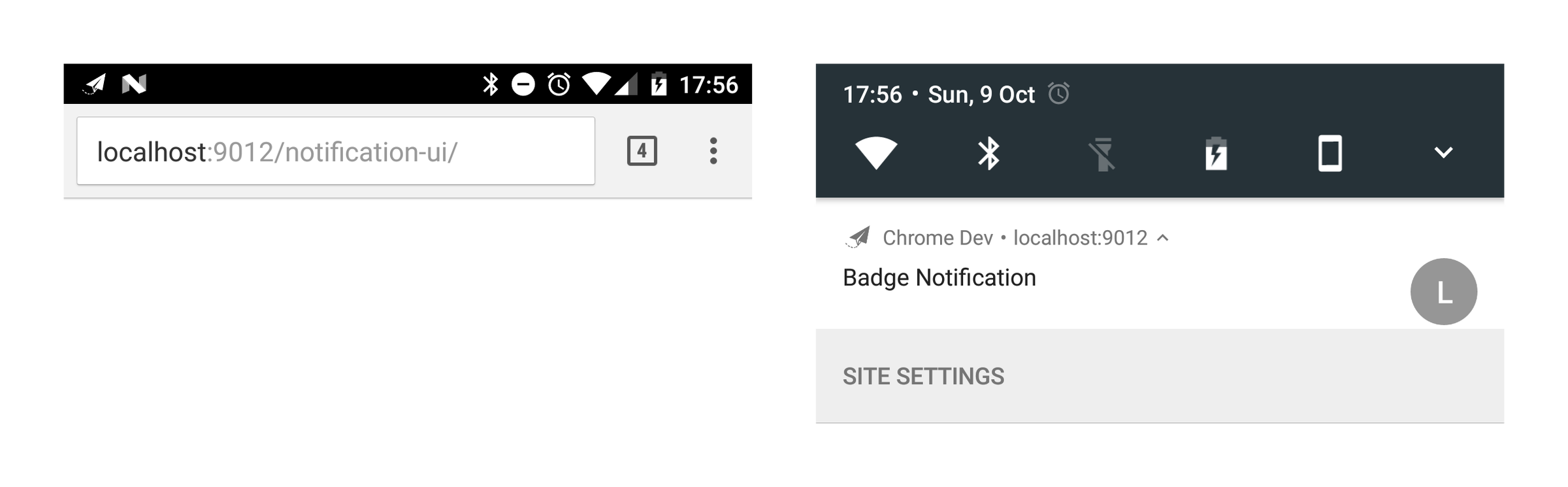 Notification with badge on Chrome for Android.