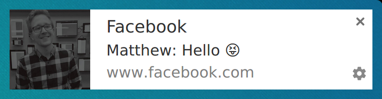 Screenshot of a Facebook message notification