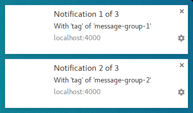 Two notifications where the second tag is message group 2.