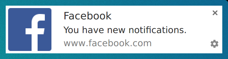 Screenshot of Facebook's Default Notification