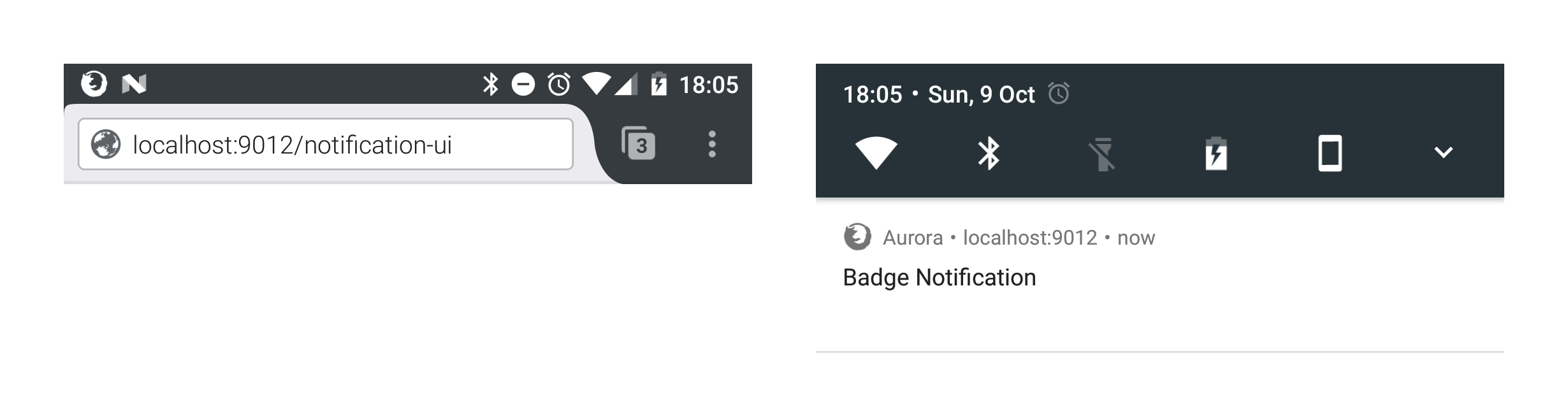 Notification with Badge on Firefox for Android.